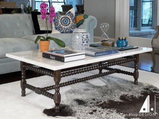 Custom Made Turned Spindle Coffee Table With Marble Top