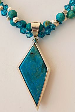 Custom Made Blue With Shades Of Green Genuine Turquoise Irregular Diamond Shape Sterling Silver Pendant