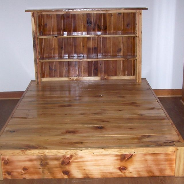 Custom Reclaimed Rustic Pine Platform Bed With Shelf Headboard And 4 Drawers Made To Order From The Strong Oaks Wood Custommade