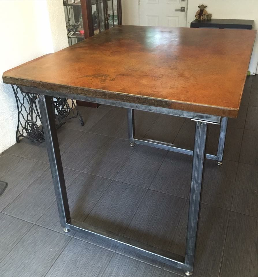 Hand Crafted Bar Height Dining Table With Concrete Top And
