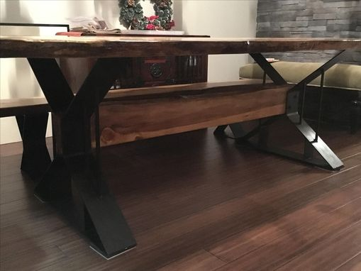 Custom Made Live Edge Dining Table With Metal Bases And Copper Inlay.