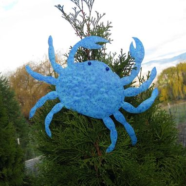Custom Made Handmade Upcycled Metal Crab Wall Art Sculpture In Blue