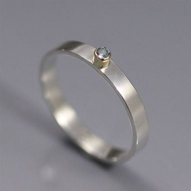 Custom Made 1 Stone On Shank Ring 14k, Sm. (Genuine Aquamarine) (Made To Order)