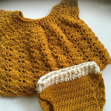 Custom Made Baby Crochet Dress And Diaper Cover