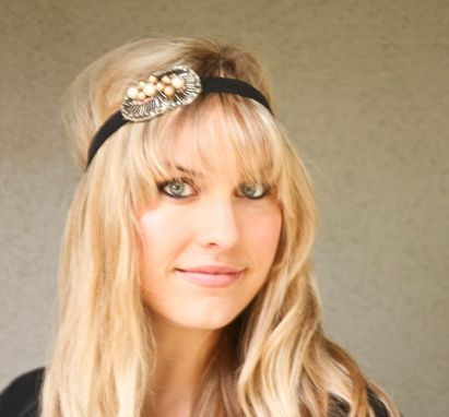 Custom Made Bohemian Beaded Black Elastic Headband