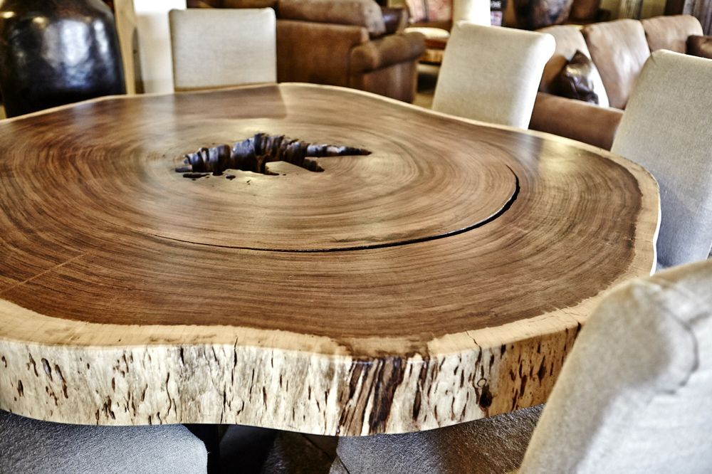 handmade guanacaste slab round dining table by blowing rock woodworks