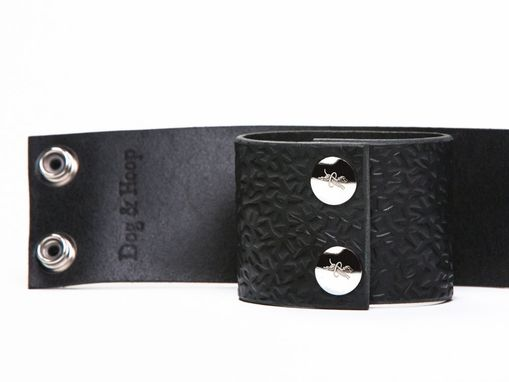 Custom Made Leather Bondage Cuffs - Black Latigo - Embossed With Thorns - Steel Horseshoe Lead Ring