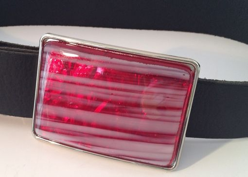 Custom Made Red And White Stripes, Fused Glass Belt Buckle