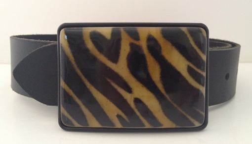 Custom Made Tiger Stripes On Amber Fused Glass Belt Buckle
