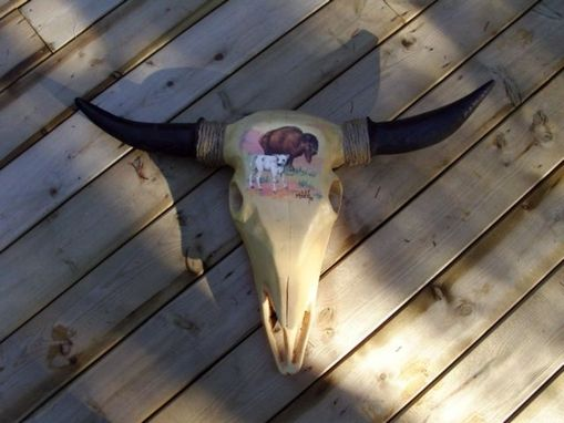 Custom Made Yellow Cedar Buffalo Skull