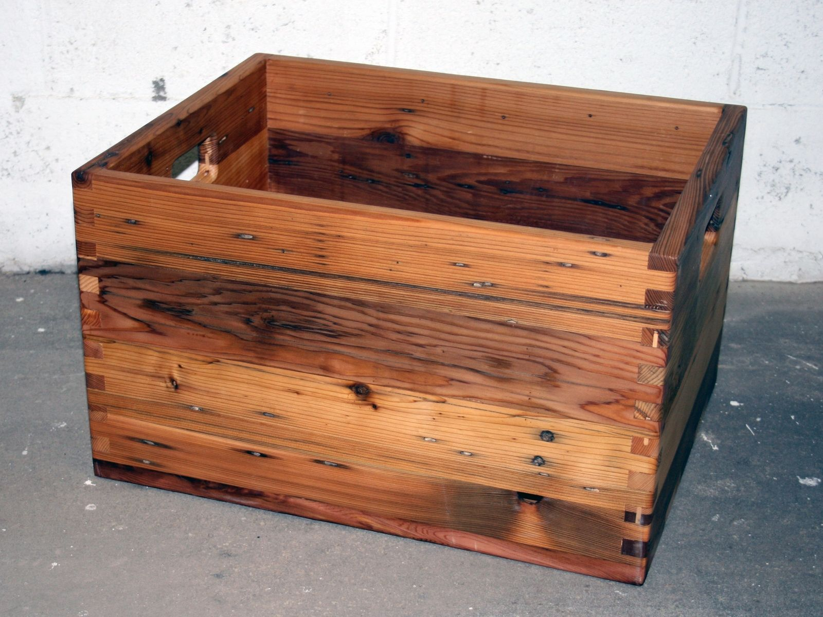 Hand made reclaimed cedar box joint bench coffee table by - Custom Made Reclaimed Cedar Box Joint Crate