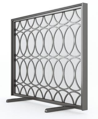 Custom Made Metal Fireplace Screen (Circles)