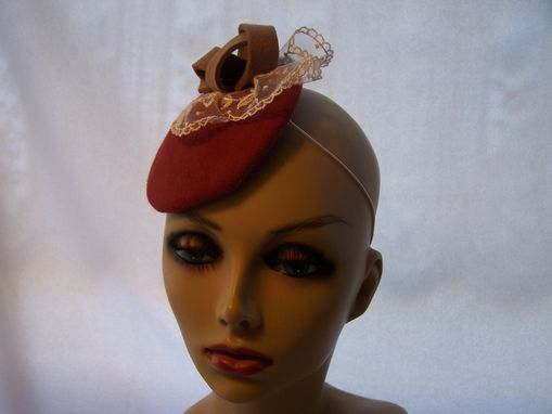 Custom Made Ruddy Red Wool Felt Fascinator/Headpiece