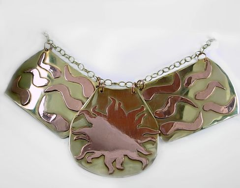 Custom Made Copper And Brass Triptych Egyptian Collar-Sun And Rays