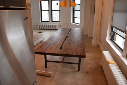 Custom Made Reclaimed Wood Conference Table With Pipe Legs