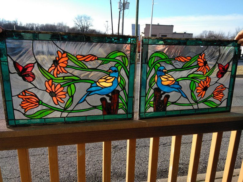 Custom P 153 Oriole And Butterflies Stained Glass Panel By