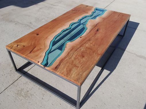 Custom Made Sycamore River Glass Coffee Table
