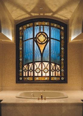Custom Made Stained Glass Privacy Window In The Master Bathroom Of This Custom Home,  Next To A Private Golf Course In A Gateted Community,  Boca Raton, Fl
