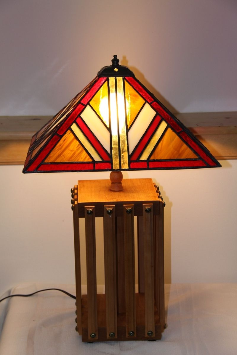 Hand made mission style lamp with stained glass lamp shade by hand made mission style lamp with stained glass lamp shade by tobias wood and glass custommade mozeypictures Gallery