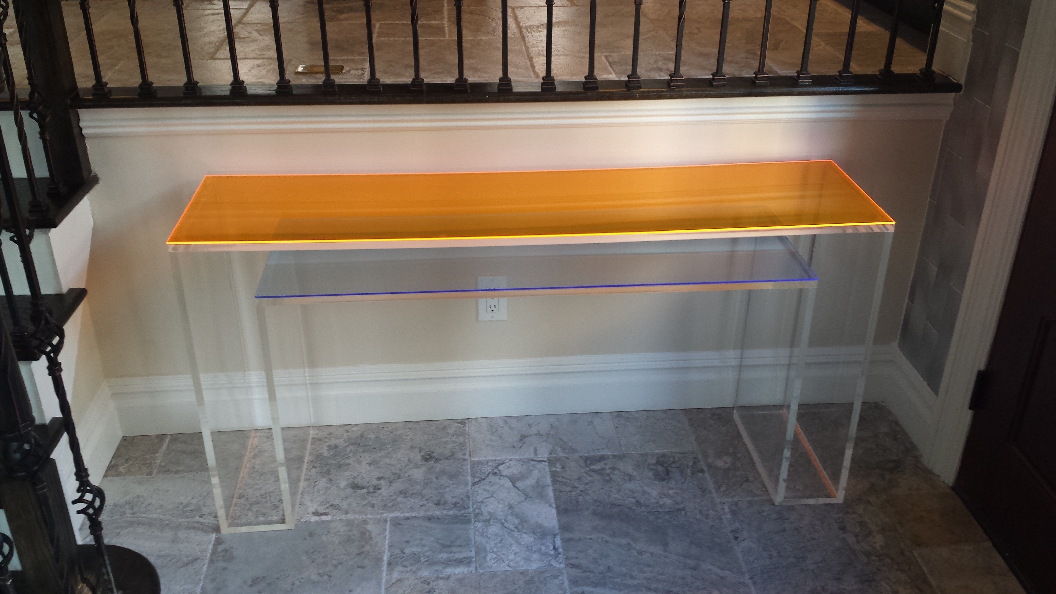 Hand crafted console table double layer with color overlay custom made console table double layer with color overlay handcrafted custom sizing welcome geotapseo Choice Image