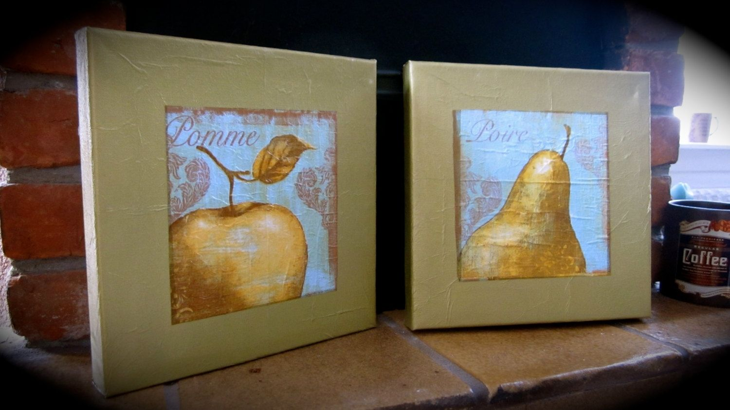 Custom Made Le And Pear Kitchen Decor Napkin Art On Canvas Set Of 2