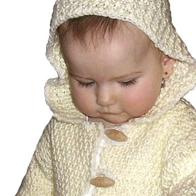 Custom Made Baby Hoodie Jacket Yellow Knit Sweater 6 Mos Butter Cream