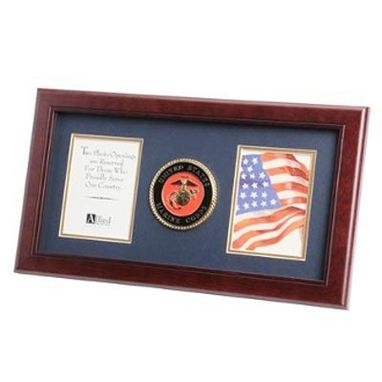 Custom Made U.S. Marine Corps Medallion Double Picture Frame