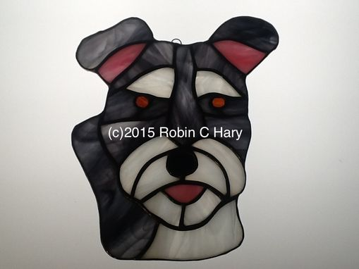 Custom Made Schnauzer Stained Glass Sun Catcher