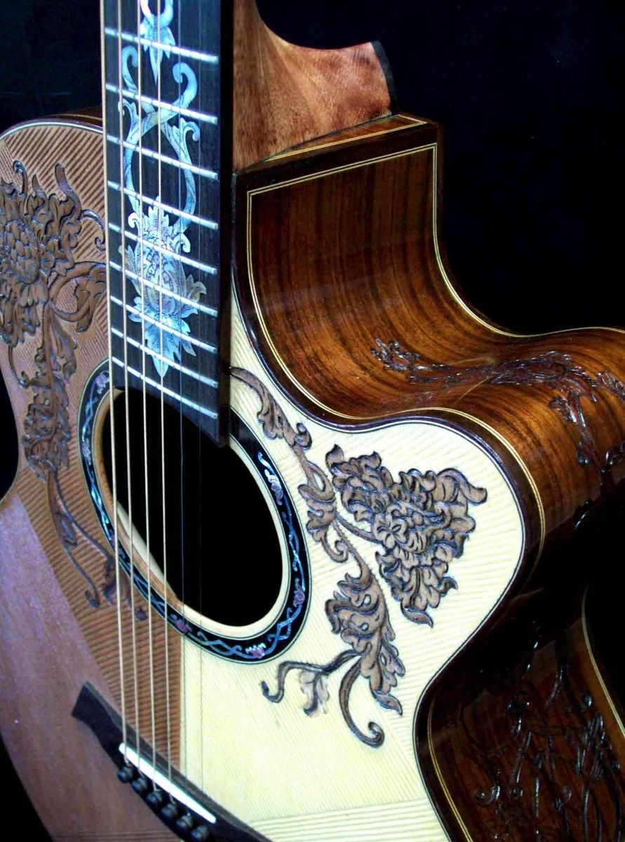 custom made blueberry split top floral motif acoustic guitar by blueberry musical instruments. Black Bedroom Furniture Sets. Home Design Ideas