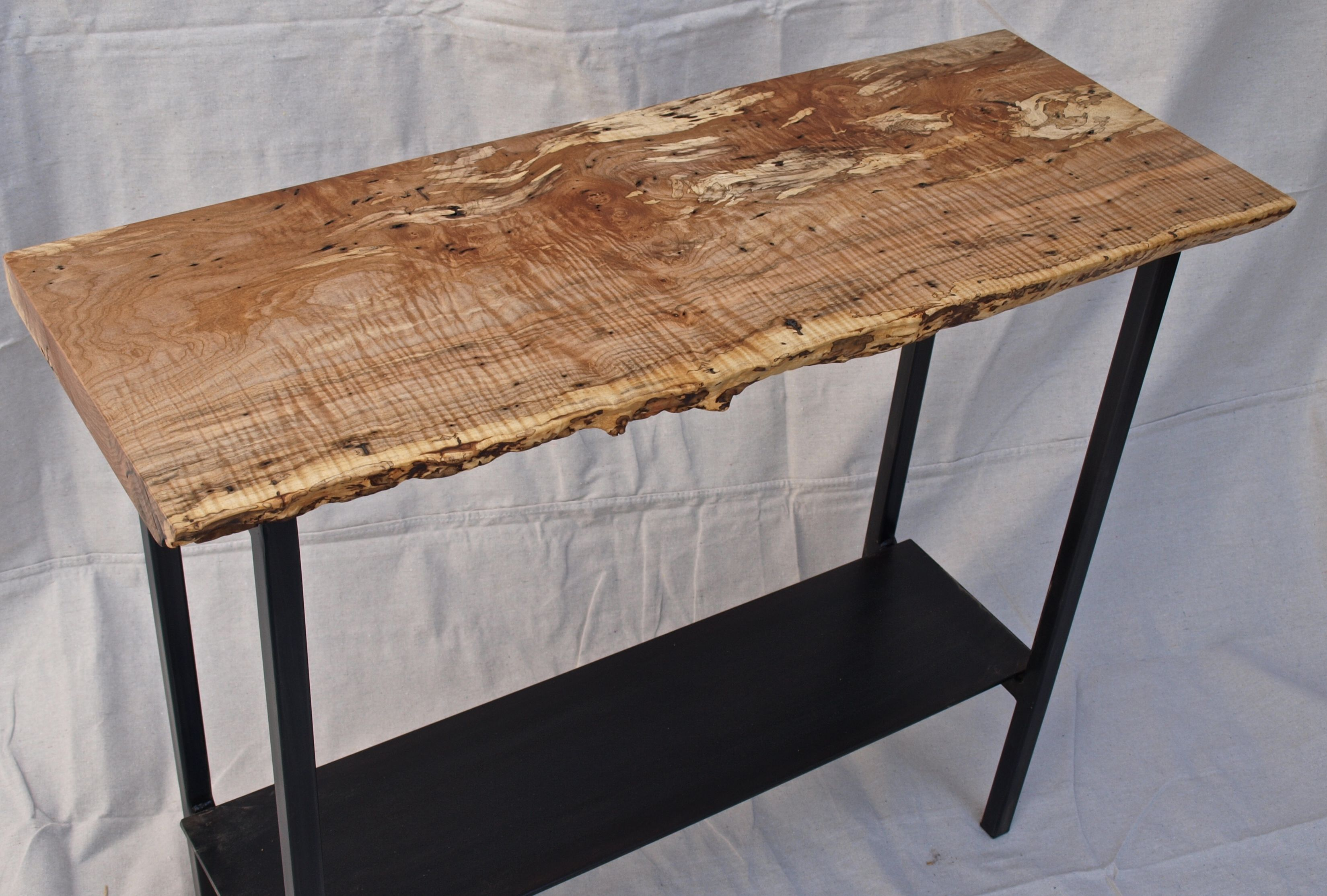 Hand crafted live edge maple console table by witness tree studios custom made live edge maple console table geotapseo Image collections