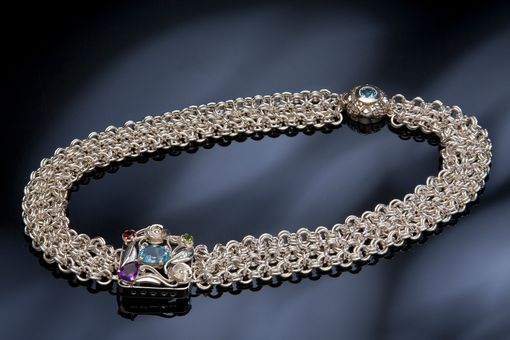 Custom Made Sterling Silver Chainmaille Bib Collar With Gemstones