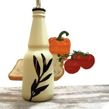 Custom Made Kitchen Soap Dispenser, Oil And Vinegar Bottle, Almond Color, Willow Branch