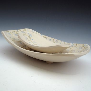 Custom Made Set Of Two Pottery Serving Bowls In Cream With Blue Flowers