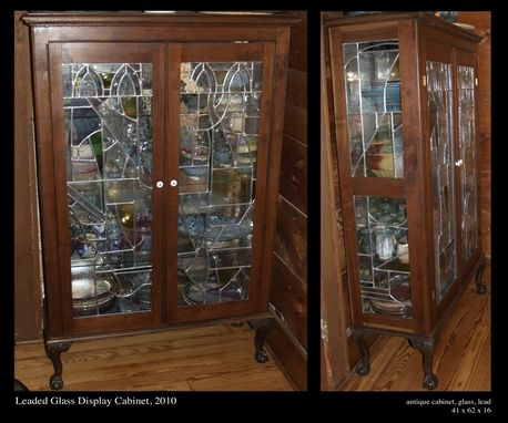 Custom Made Leaded Glass Display Cabinet