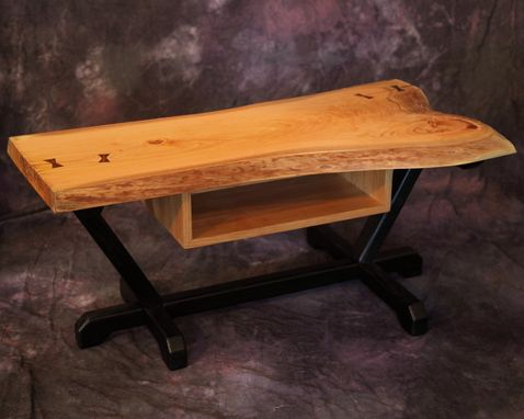 Custom Made Scorched Ash Live Edge Slab Coffee Table