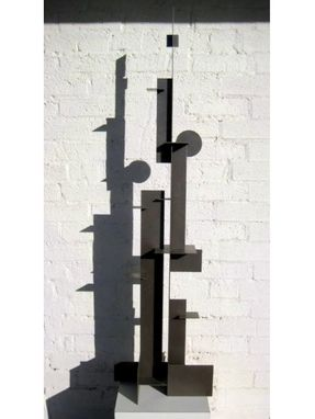 "Custom Made Silver Bronze Steel Sculpture ""Bauhaus Statement"""