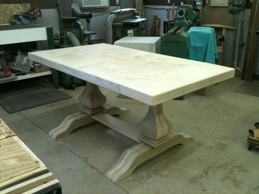 Custom Made Trestle Table With End Extensions
