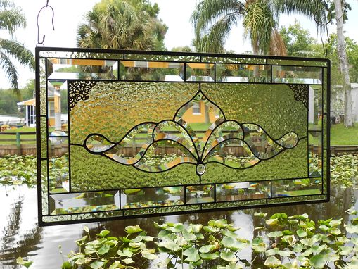 Custom Made Traditional Vintage Look Victorian Stained Glass Panel Window Transom