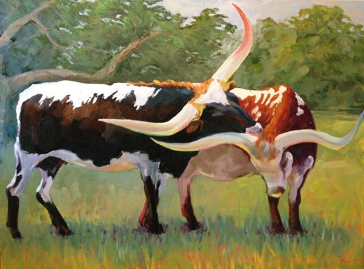 Custom Made Oil Painting- Longhorns Nuzzle