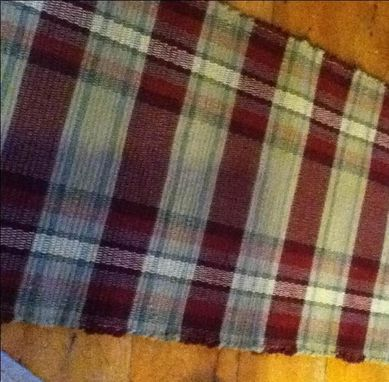 Custom Made Plaid Red Mustard Tan Wool Hand-Woven Rug 2 Ft X 9 Ft 4 In