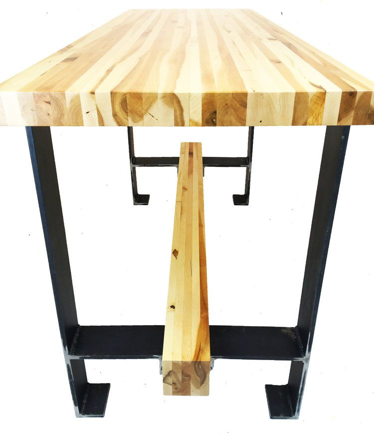 Hand Crafted Maple Butcher Block Table W HFrame Metal Base By - Metal butcher table