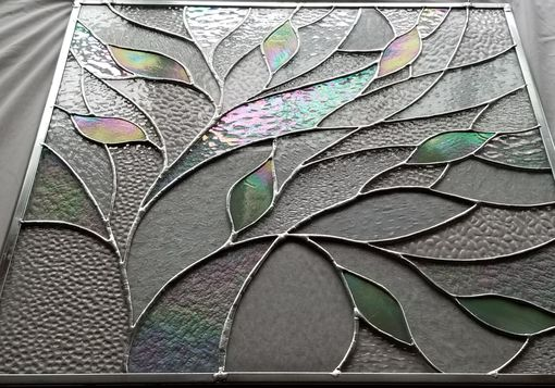 Custom Made Stained Glass Iridescent Decorative Leaves Window