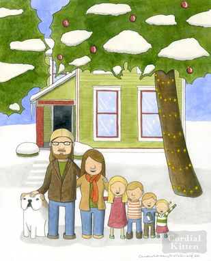 Custom Made Custom Illustrated Family Portrait, House Portrait, Home Remembrance