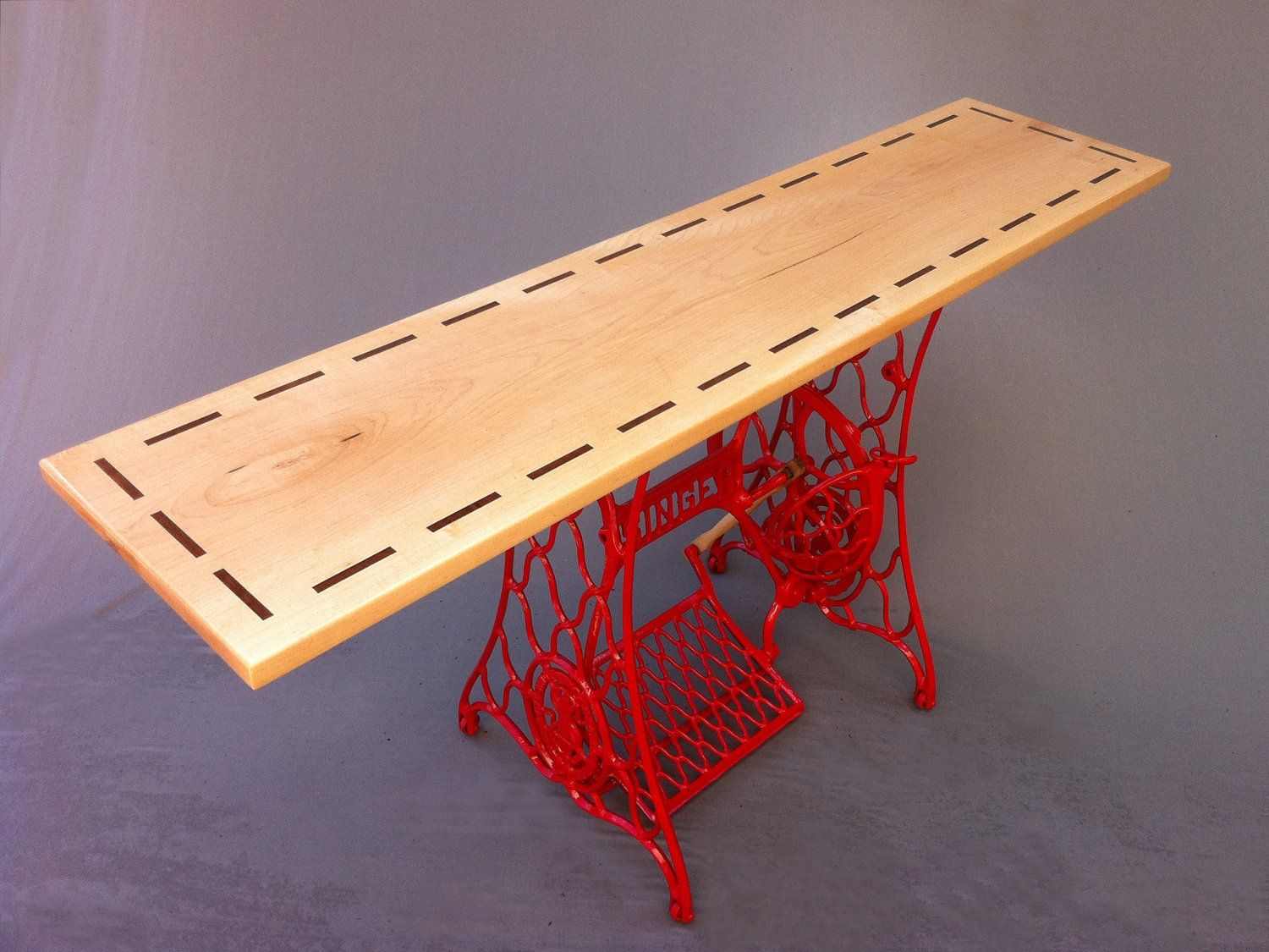 vintage entry table. Custom Made Modern Console Table/Red Vintage Singer Sewing Machine Base - Hall Entry Table R