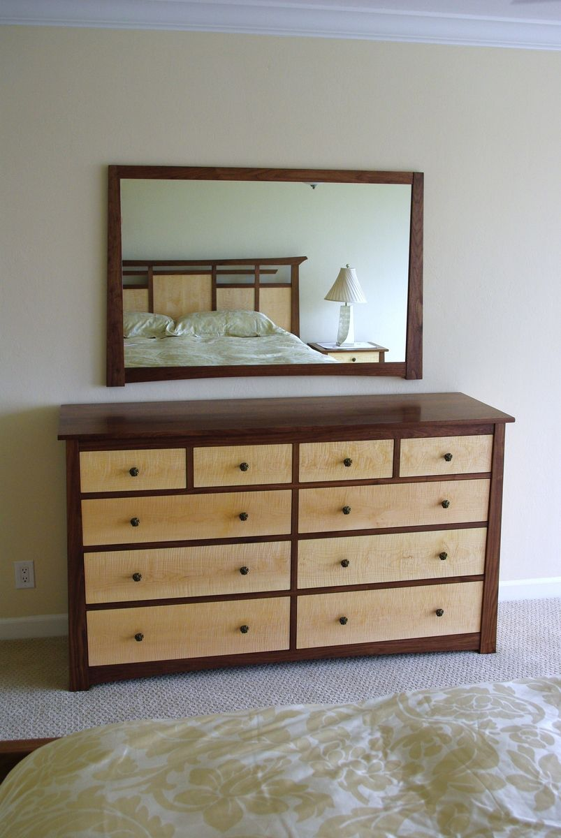 Hand Made Black Walnut And Curly Maple Dresser And