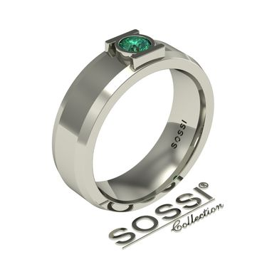 Custom Made Men's 14k White Gold And Emerald Wedding Ring 0.50ct