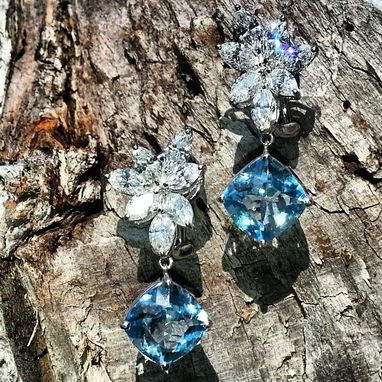 Custom Made Cut And And Restyle Aquamarine In To Cushion Cut Stone And Attach It To A Diamond Earrings