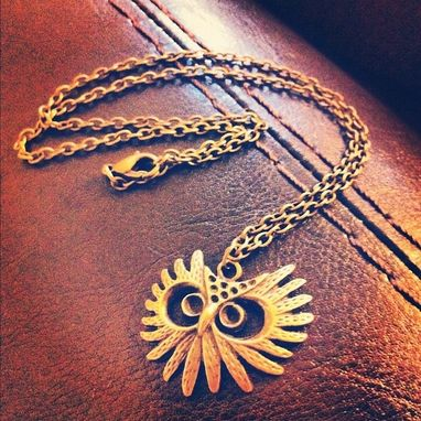 Custom Made Antique Accessory Owl Head Necklace