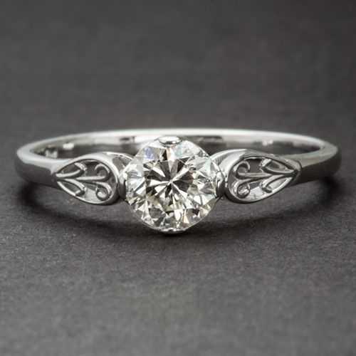 Custom Floral Engagement Ring Art Deco Vintage Style