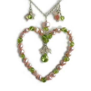 Custom Made Big Silver Heart Pendant Necklace - Peridot Gemstones And Pearls